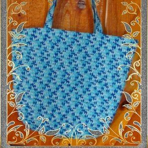 Double Nice Blue Braided Summer Tote Bag